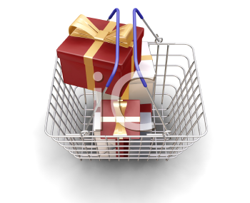 Royalty Free Clipart Image of a Basket Full Of Christmas Presents