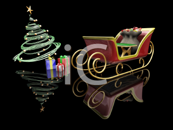 Royalty Free Clipart Image of Santa's Sleigh and a Christmas Tree