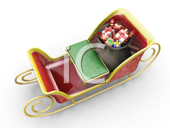 Royalty Free Clipart Image of Santa's Sleigh With Gifts