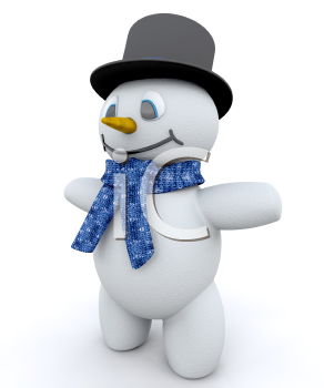 Royalty Free Clipart Image of a Snowman in a Top Hat and Scarf