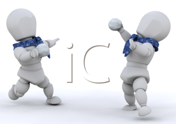 Royalty Free Clipart Image of People Having a Snowball Fight