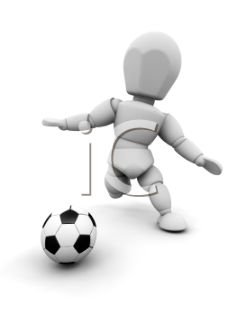 Royalty Free Clipart Image of a Person Kicking a Soccer Ball