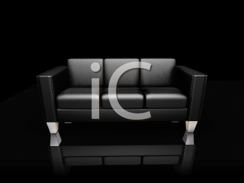 Royalty Free Clipart Image of a Black Leather Settee