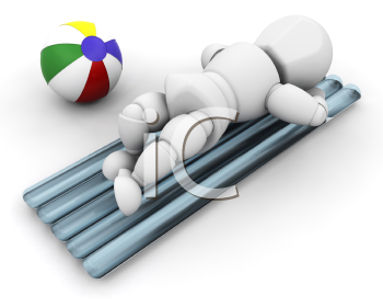 Royalty Free Clipart Image of a Person Sunbathing on a Mattress