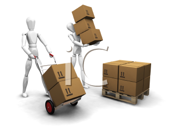 Royalty Free Clipart Image of Workers Stacking Boxes