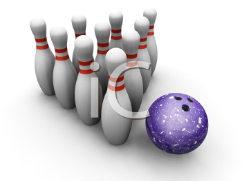 Royalty Free Clipart Image of a Bowling Ball and Pins