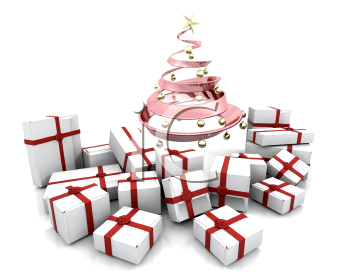 Royalty Free Clipart Image of a Stack of Gifts Under a Pink Metallic Christmas Tree