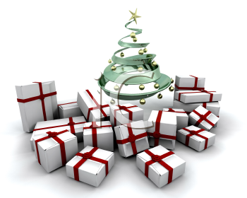 Royalty Free Clipart Image of a Stack of Presents Under a Christmas Tree