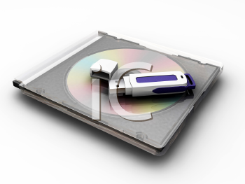 Royalty Free Clipart Image of a USB on a CD