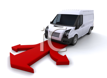 Royalty Free Clipart Image of a Van With Arrows