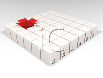 Royalty Free Clipart Image of a Square of Boxes With an Open Red One