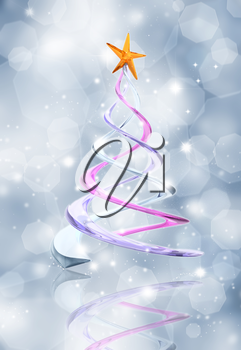 Glittery blue background with abstract glass effect Christmas tree