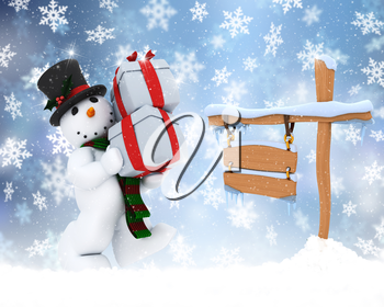 Christmas background of snowman carrying gifts with snowy sign