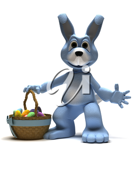 3D Render of an Easter Bunny with Easter Egg