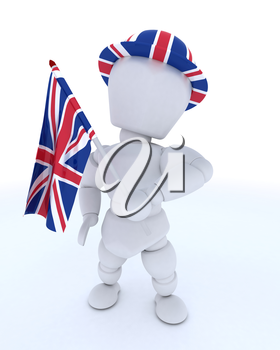 3D render of Man in Union Jack Hat with Flag