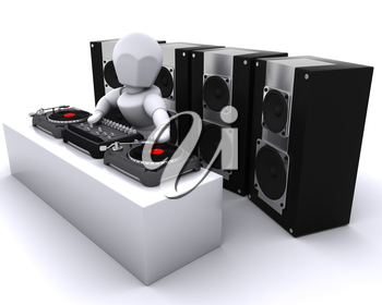 3D render of a DJ mixing records on turntables