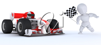 3D render of a Man in Race car winning at chequered flag