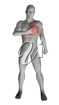 3D render of a man with chest pain