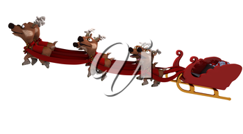 3D render of santas sleigh and reindeer