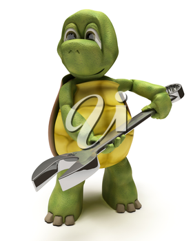 3D render of a Tortoise with a spanner