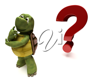 3D render of a Tortoise Caricature thinking by a question mark