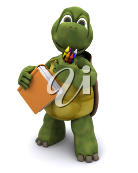 3D render of Tortoise with school book and crayons