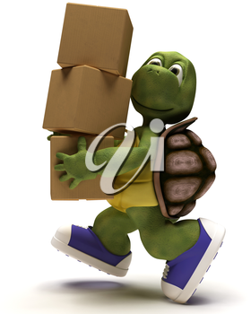 3D render of a Tortoise Caricature runniing with packing cartons