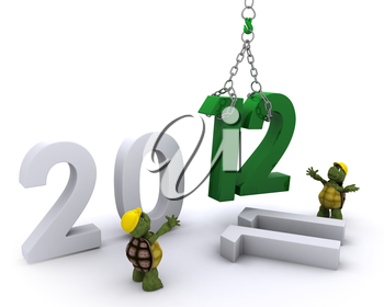 3D render of a Tortoise Bringing the new year in