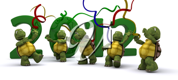 3D render of a Tortoises Bringing the new year in