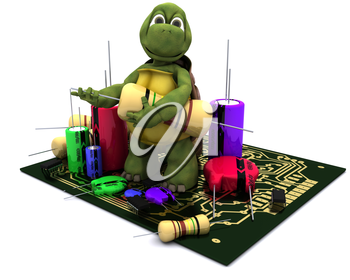 3D render of a tortoise with a micro chip