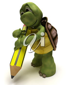 3D render of a Tortoise holding a pencil