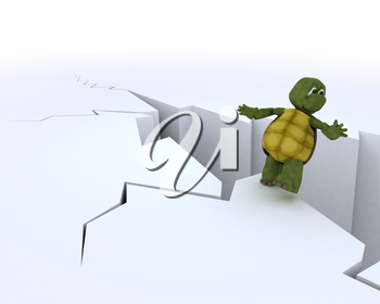 3D render of a tortoise on a cliff edge