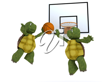 3D render of a tortoises playing basket ball