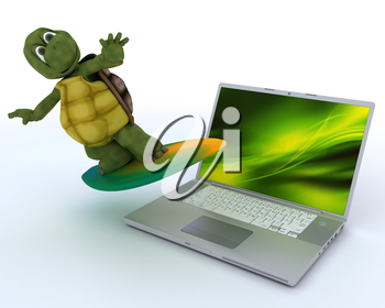 3D render of a tortoise with surf board and laptop