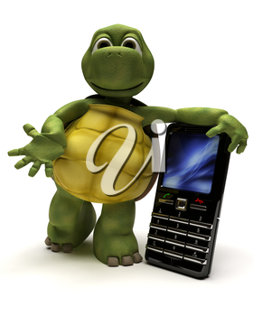 3D Render of a Tortoise with a cell phone