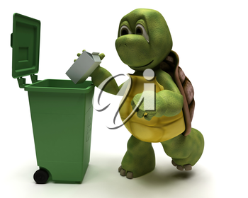 3D Render of a Tortoise with a trash can