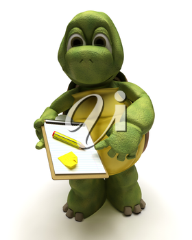 3D render of a tortoise delivering a parcel