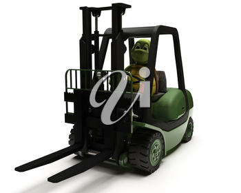 3D render of Tortoise driving a forklift truck