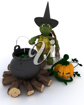 3D render of tortoise witch with cauldron of eyeballs on log fire