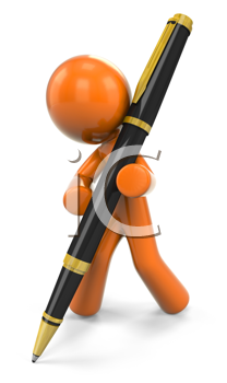 Royalty Free Clipart Image of a 3D Orange Man Writing With A Ball Point Pen
