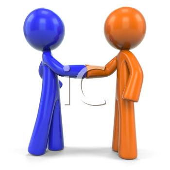 Royalty Free Clipart Image of a Blue Man and an Orange Man Shaking Hands