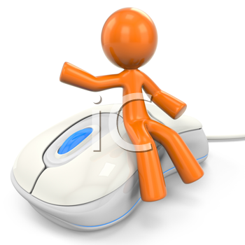 Royalty Free Clipart Image of an Orange Man Sitting on a Mouse