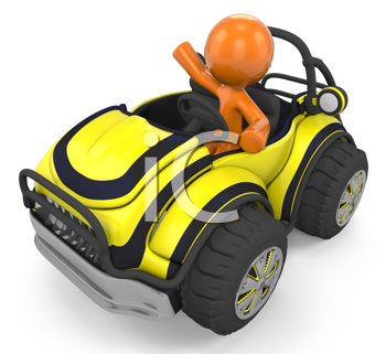 Royalty Free Clipart Image of an Orange Man in a Yellow Buggy