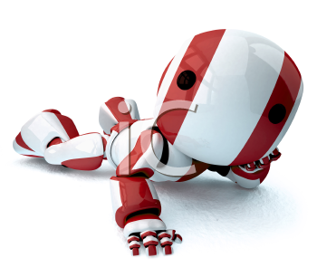 A glossy robot lying down stretched out on the floor with a shadow looking at the viewer.