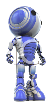 A robot standing straight looking like a hero.