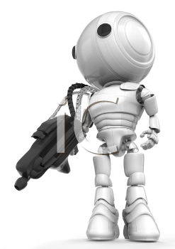 A robot soldier holding a large and heavy gun which is connected to his back via metal hoses for supplying energy to the gun. State of the art!