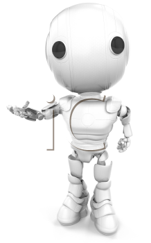 A robot looking at the viewer making a hand gesture or making ready to hold a product you can place on his hand.