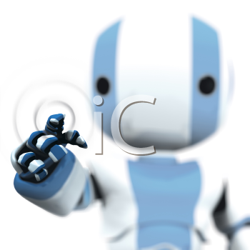 A blue and white robot pointing against a transparent plane. Ripples reveal presence of invisible barrier.
