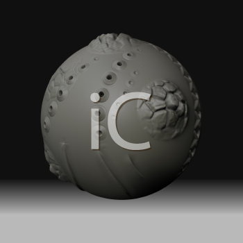 An abstract Clay Ball in Black Space