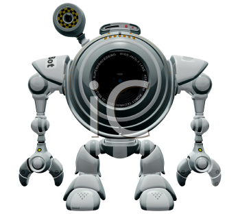 Royalty Free Clipart Image of a A 3d Robot Web Cam.